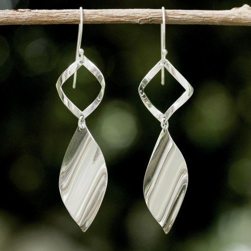 Sleek Handcrafted Sterling Silver Contemporary Thai Earrings 'Shimmering Helicopters'