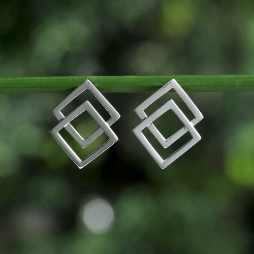 Thai Sterling Silver Square Geometric Button Earrings 'Forever Square'