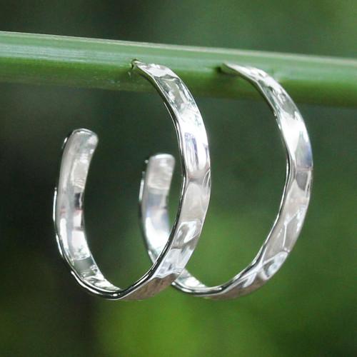 Modern Thai 925 Sterling Silver Half-Hoop Earrings 'Contemporary Woman'