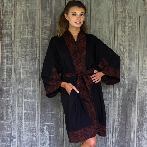 Indonesian Floral Batik Printed Black and Cocoa Short Robe 'Bewitching Blossom'