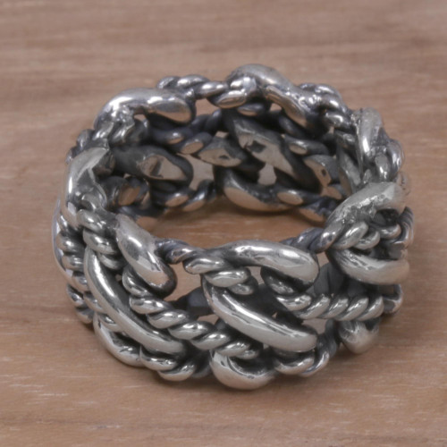 925 Sterling Silver Rope Motif Band Ring from Indonesia 'Roped by Love'