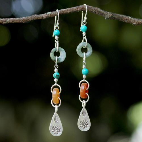 Beaded Dangle Earrings with Jade and Hill Tribe Silver 'Hill Tribe Adventure'