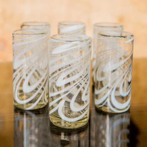 Set of 6 Blown Recycled White Highball Glasses from Mexico 'Whirling White'