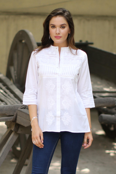 Embroidered White Cotton Button Up Blouse from India 'Effortless Grace'