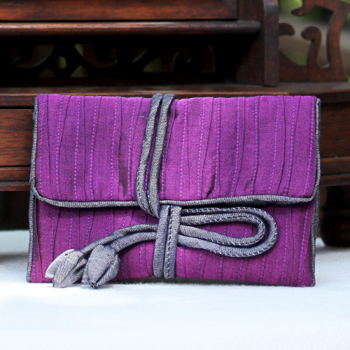 Handwoven Silk and Rayon Blend Thai Jewelry Roll in Eggplant 'Enchanted Journey in Eggplant'