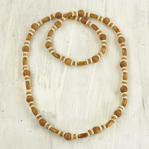 Hand Crafted Sese Wood Beaded Necklace by Ghanaian Artisans 'Adipa Joy'
