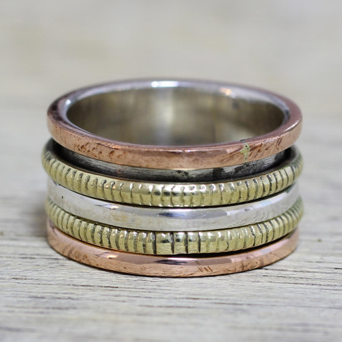 Sterling Silver Copper and Brass Spinner Ring from India 'Alluring Rotation'