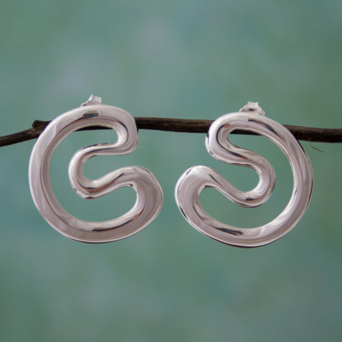 Taxco 925 Sterling Silver Drop Earrings from Mexico 'Taxco Waves'