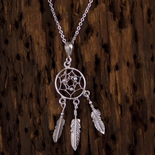 Sterling Silver Dream Catcher Pendant Necklace from Mexico 'Pleasant Daydreams'