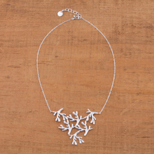 Sterling Silver Coral Pendant Necklace from Mexico 'Shining Coral'