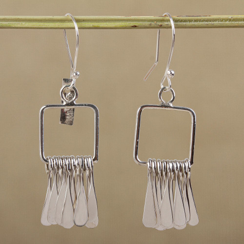 Sterling Silver Square Dangle Earrings by Mexican Artisans 'Square Chimes'