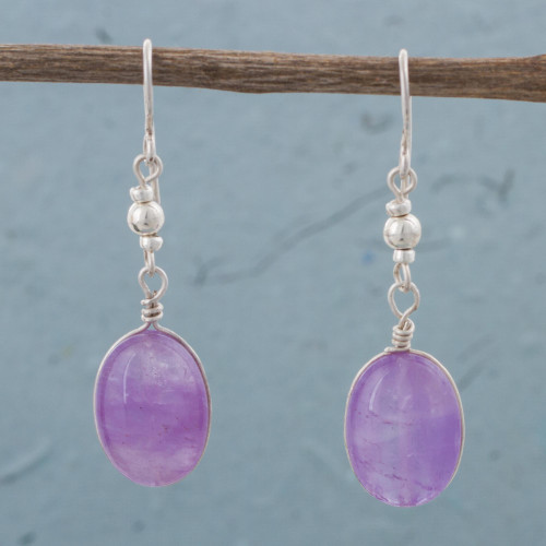 Amethyst and Sterling Silver Dangle Earrings from Peru 'Forever Purple'