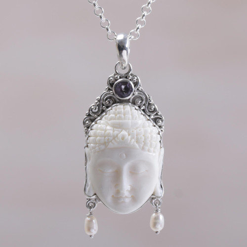 Amethyst Cultured Pearl and Bone Buddha Pendant Necklace 'Blessed Buddha'