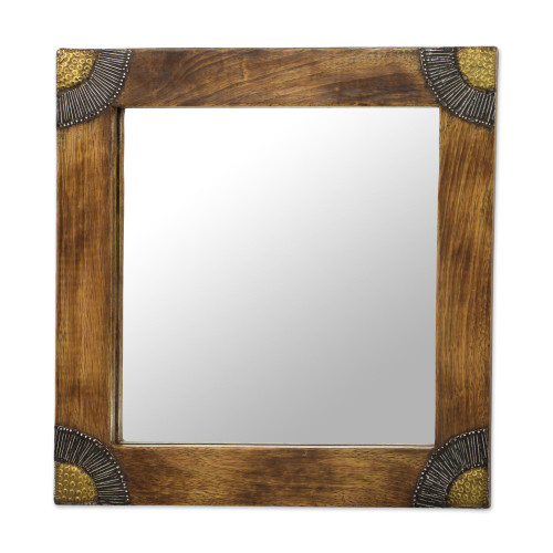 Sese Wood Aluminum and Brass Square Wall Mirror 13 In 'Charming Image'
