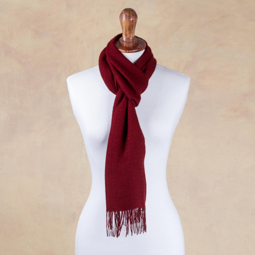Rich Red Patterned Scarf Knit in Alpaca and Pima Cotton 'Apple Rose'