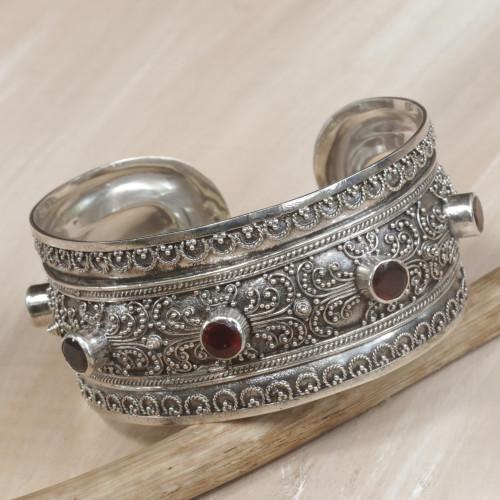 Balinese Sterling Silver Cuff Bracelet with Garnet 3.5 Cts 'Uluwatu Altar'