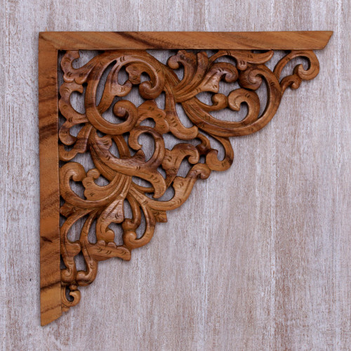 Hand Crafted Suar Wood Vine Motif Relief Panel from Bali 'Forest Corner'