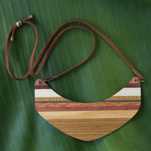Boomerang Shaped Wood Pendant Necklace from Brazil 'Striped Boomerang'