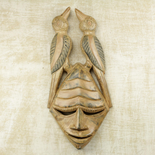 Hand Carved Sese Wood Mask with Birds from Ghana 'Twin Birds'