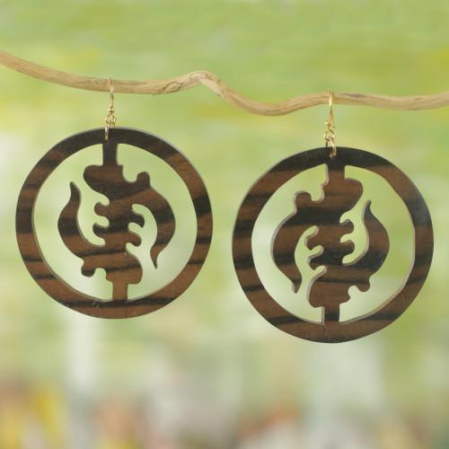 Ebony Wood Circular Adinkra Dangle Earrings from Ghana 'Round Gye Nyame'