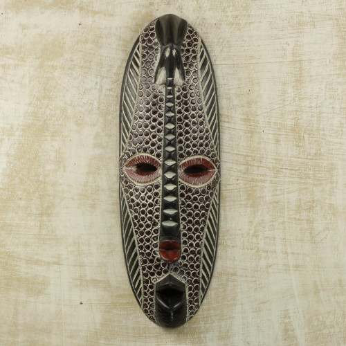Painted Sese Wood and Aluminum Wall Mask from Ghana 'Elephant Strength'