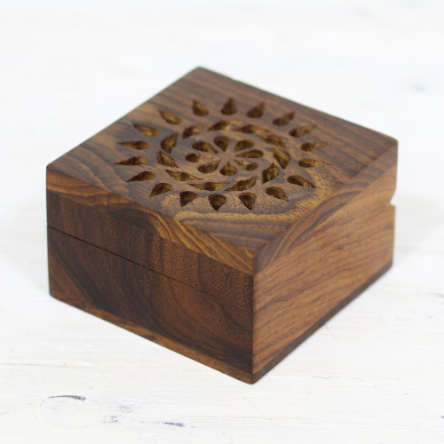 Hand Carved Decorative Mango Wood Box from India 'Glorious Flower'