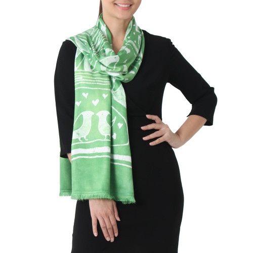 Batik Painted Bird Rayon Scarf in Lime from Thailand 'Bird Home in Lime'