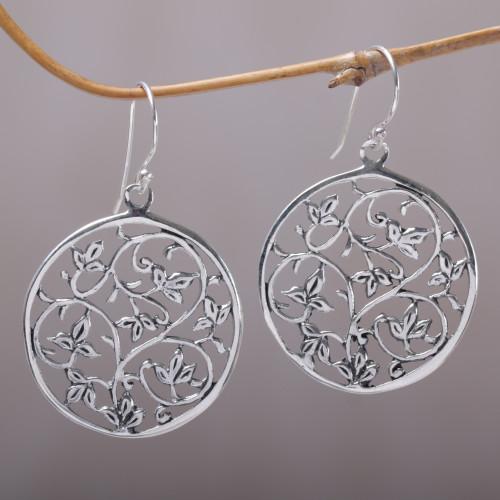 Sterling Silver Vine Motif Dangle Earrings from Bali 'Vine Rings'