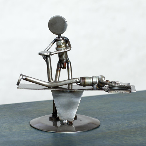 Handmade Chiropractic Recycled Metal Figurine from Mexico 'Chiropractic'