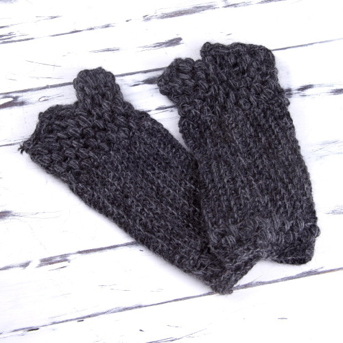Hand Knit 100 Alpaca Fingerless Mitts in Grey from Peru 'Mountainside Grey'