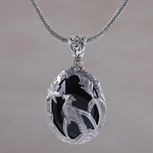Onyx and Sterling Silver Cockatoo Necklace from Bali 'Cockatoo Garden'