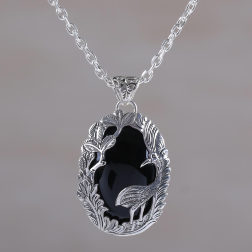 Onyx and Sterling Silver Heron Pendant Necklace from Bali 'Wading Heron'