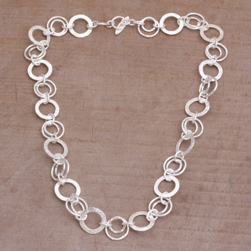 925 Sterling Silver Modern Chain Necklace from Bali 'Stellar Rings'