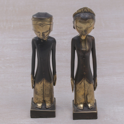 Pair of Bronze Sculptures of a Man and Woman from Bali 'Manten Matrimony'