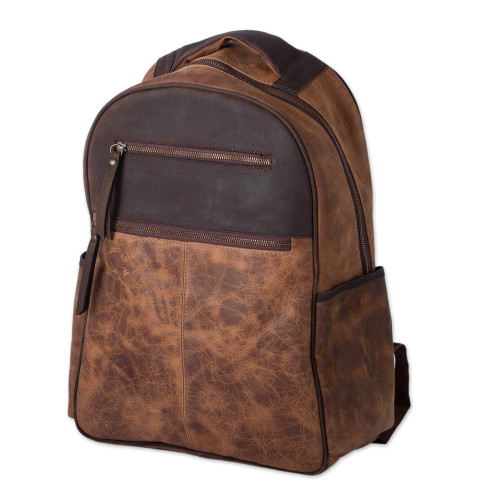 Men's Handcrafted Brown Leather Backpack from Mexico 'All Terrain Adventure'