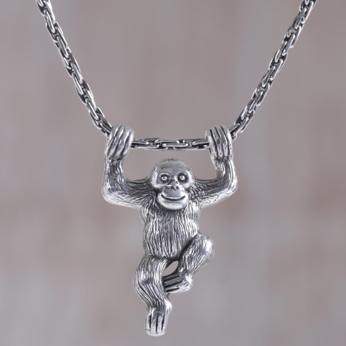 Sterling Silver Monkey Pendant Necklace from Indonesia 'Monkey Charm'