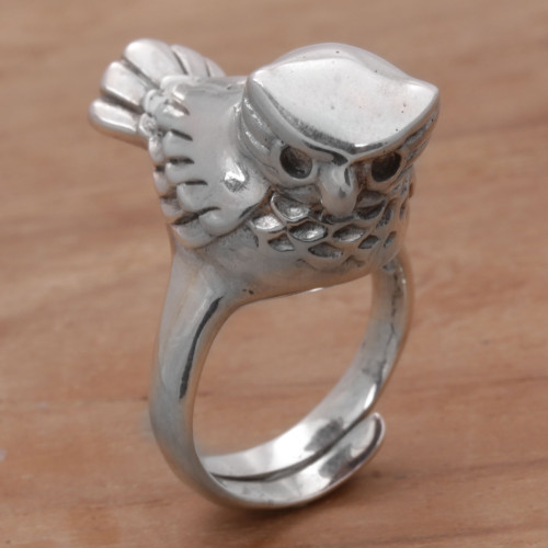 Artisan Crafted Sterling Silver Owl Cocktail Ring from Bali 'Perched Owl'