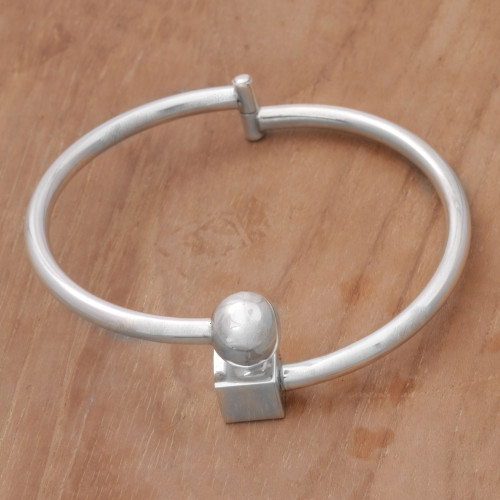 Sterling Silver Simple Bangle Bracelet by Balinese Artisans 'Simple Bali'