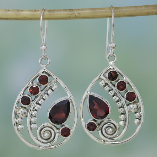 Garnet and Sterling Silver Dangle Earrings from India 'Scarlet Dew'