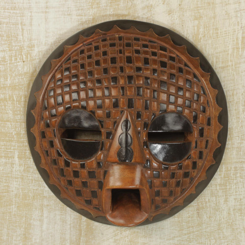 Handcrafted African Sese Wood Mask from Ghana 'Apology'