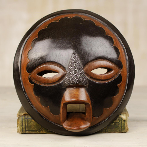 Handcrafted African Sese Wood Mask from Ghana 'Good Money'