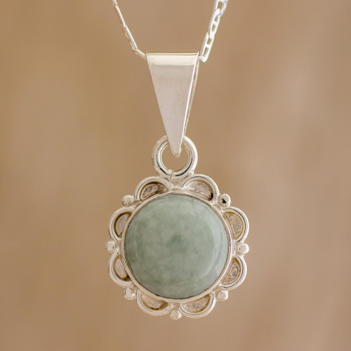 Jade and Sterling Silver Pendant Necklace from Guatemala 'Dark Forest Princess'