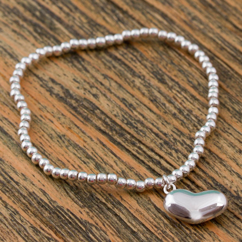 Handcrafted Taxco Sterling Silver Stretch Charm Bracelet 'Love from the Heart'