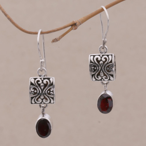 Sterling Silver and Garnet Dangle Earrings from Bali 'Red Horizon'