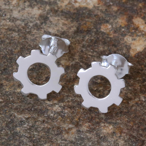 Silver Gear Earrings with High Polish Finish from Thailand 'Gears Turning'
