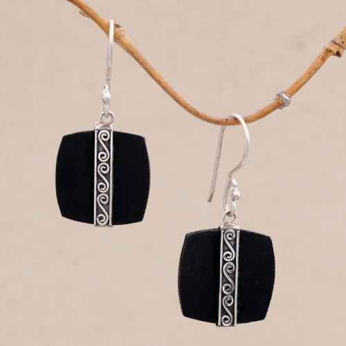 Sterling Silver and Lava Stone Spiral Motif Dangle Earrings 'Temple Bands'