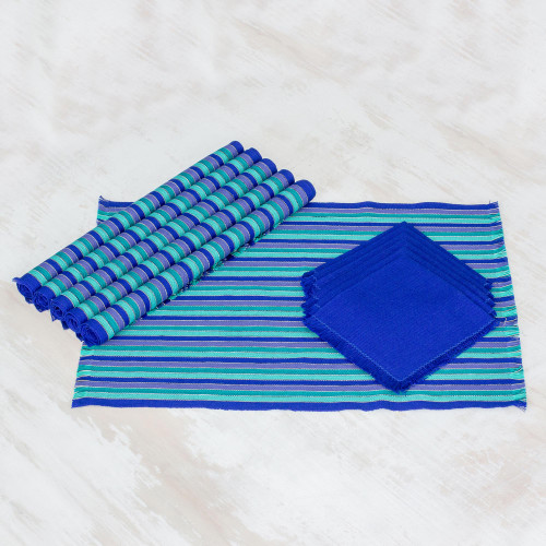 Set of 6 Cotton Placemats and Napkins in Blue from Guatemala 'Colors of the Sea'