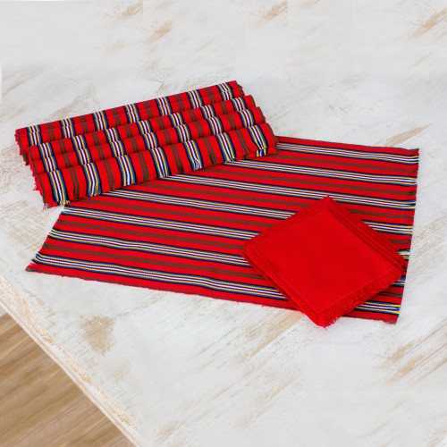 Set of 6 Striped Cotton Placemats and Napkins in Crimson 'Palop Trails'