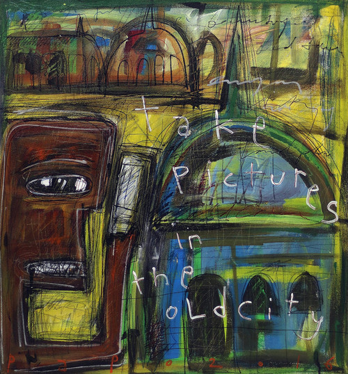 Signed Modern Abstract Portrait Painting from Bali 'Take Pictures in the Old City'