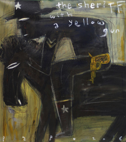Signed Modern Painting of a Sheriff from Bali 'The Sheriff With a Yellow Gun'